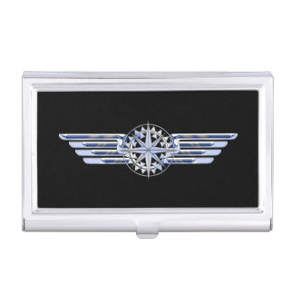 Air Pilot Chrome Like Wings Compass on Black Business Card Holder