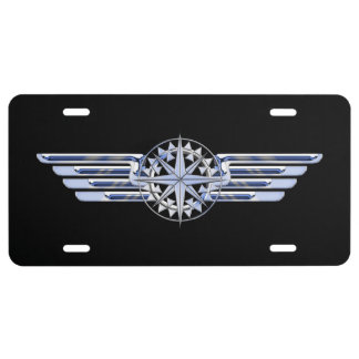Air Pilot Chrome Like Wings Compass on Black License Plate