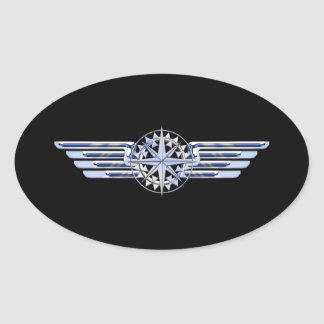 Air Pilot Chrome Like Wings Compass on Black Oval Sticker