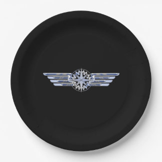 Air Pilot Chrome Like Wings Compass on Black Paper Plate