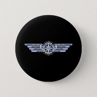 Air Pilot Chrome Like Wings Compass on Black Pinback Button