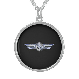 Air Pilot Chrome Like Wings Compass on Black Sterling Silver Necklace