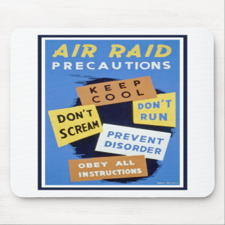 Air raid precautions sign (1943) mousepad
