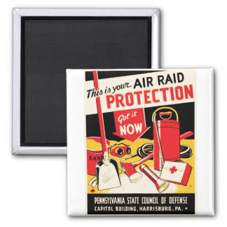 Air Raid Protection 2 Inch Square Magnet