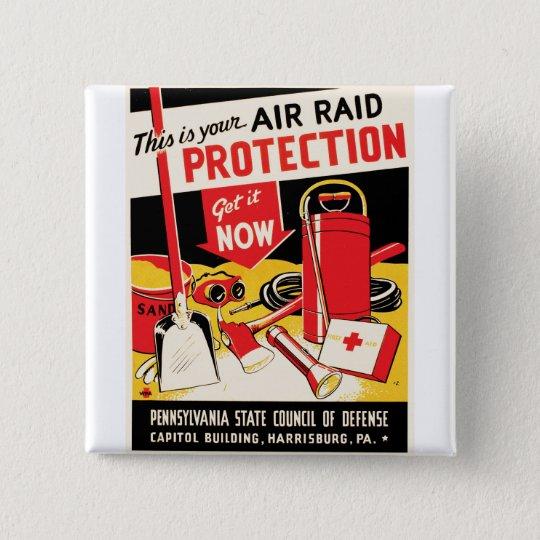 Air Raid Protection Pinback Button