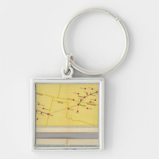 Air Route from Los Angeles to Columbus Silver-Colored Square Keychain