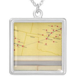 Air Route from Los Angeles to Columbus Silver Plated Necklace