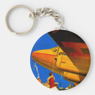 Air, Sea and Land Travel Detail Key Fob Keychain