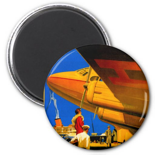 Air, Sea and Land Travel Round Magnet