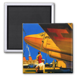 Air, Sea and Land Travel Square Magnet