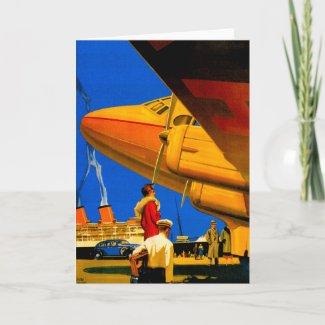 Air, Sea and Land Travel Vertical Greeting Card card