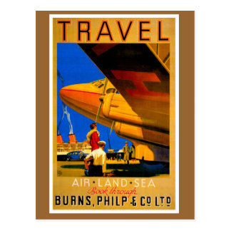 Air, Sea and Land Travel Vertical Postcard