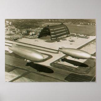 air ship zeppelin weymouth navel air base  ma. poster