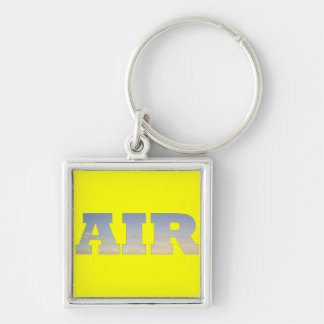 Air Silver-Colored Square Keychain