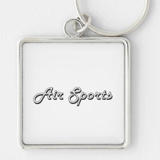 Air Sports Classic Retro Design Silver-Colored Square Keychain