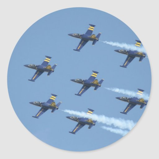 Air squadron Breitling on airshow Classic Round Sticker