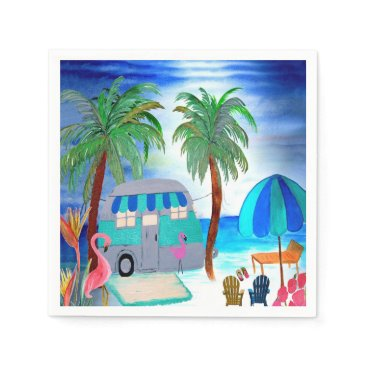 Beach Themed Air stream retro camper cocktail napkins
