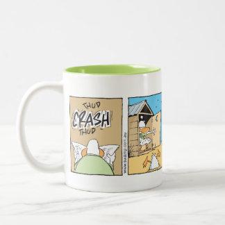 Air Traffic Controller Funny Toilet Cartoon Two-Tone Coffee Mug