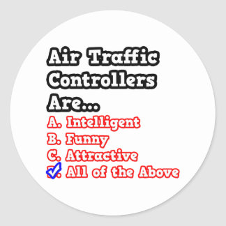 Air Traffic Controller Quiz.. Round Sticker