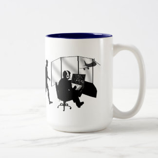 Air traffic controllers airport work tower control Two-Tone coffee mug