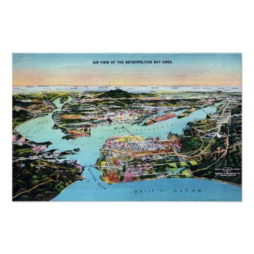 air view of bay area oakland and san francisco ca poster. Black Bedroom Furniture Sets. Home Design Ideas