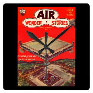 Air Wonder Stories v01 n01 (1929-07.Stellar)_Pulp Square Wall Clock