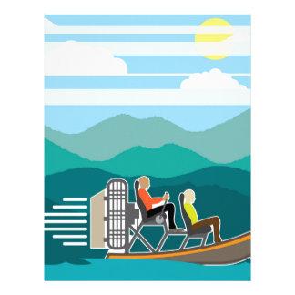 AirBoat del paseo del barco del pantano Plantilla De Membrete