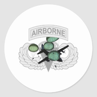 Airborne Jump with Wings Classic Round Sticker