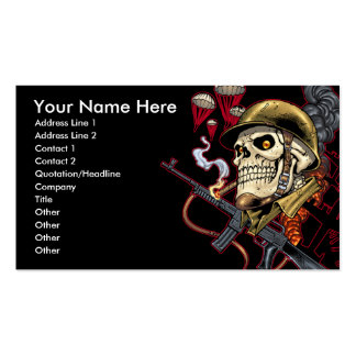 Airborne Marine Corps Parachute Skull by Al Rio Business Card Template