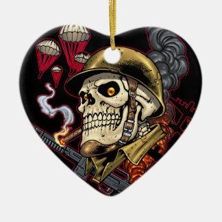 Airborne Marine Corps Parachute Skull by Al Rio Ornament