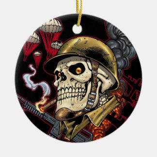Airborne Marine Corps Parachute Skull by Al Rio Christmas Ornaments