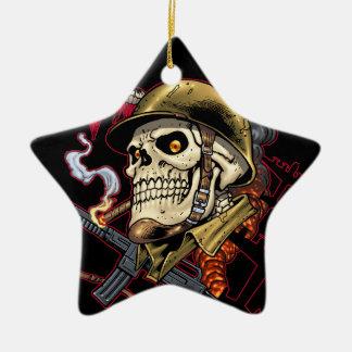 Airborne Marine Corps Parachute Skull by Al Rio Christmas Ornament