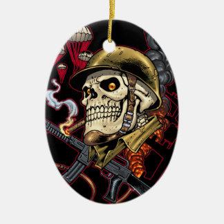 Airborne Marine Corps Parachute Skull by Al Rio Ornaments