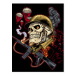 Airborne Marine Corps Parachute Skull by Al Rio Post Card