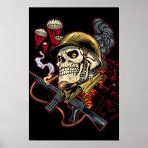 skull,, skulls,, airborne,, marine,, marines,, corps,, parachute,, skeleton,, skeletons,, al rio, Cartaz/impressão com design gráfico personalizado
