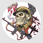 Airborne Marine Corps Parachute Skull by Al Rio Sticker