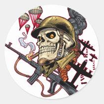 skull, skulls, airborne, marine, marines, corps, parachute, skeleton, skeletons, al rio, Adesivo com design gráfico personalizado