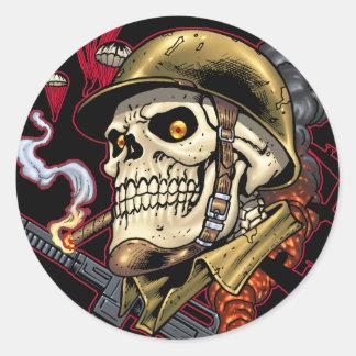 Airborne Marine Corps Parachute Skull by Al Rio Classic Round Sticker