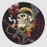 Airborne Marine Corps Parachute Skull by Al Rio Stickers