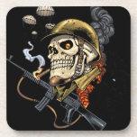Airborne Military Skeleton Smoking a Cigar Bombers Drink Coasters