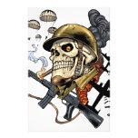 Airborne Military Skeleton Smoking a Cigar Bombers Flyer