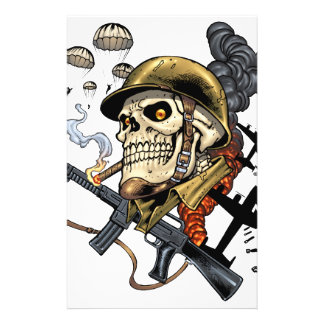 Airborne Military Skeleton Smoking a Cigar Bombers Flyer