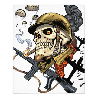 Airborne Military Skeleton Smoking a Cigar Bombers Flyers