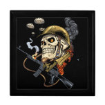 Airborne Military Skeleton Smoking a Cigar Bombers Jewelry Boxes