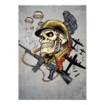 Airborne Military Skeleton Smoking a Cigar Bombers Custom Announcements