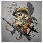 Airborne Military Skeleton Smoking a Cigar Bombers Napkin
