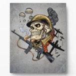 Airborne Military Skeleton Smoking a Cigar Bombers Display Plaque