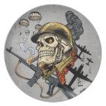 Airborne Military Skeleton Smoking a Cigar Bombers Plate