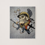 Airborne Military Skeleton Smoking a Cigar Bombers Jigsaw Puzzles