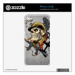 Airborne Military Skeleton Smoking a Cigar Bombers Skins For iPhone 4